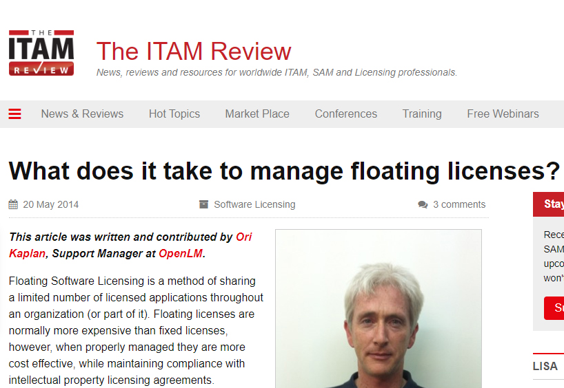 """OpenLM's publication on the IAITAM review: """"What does it take to manage floating licenses ?"""""""