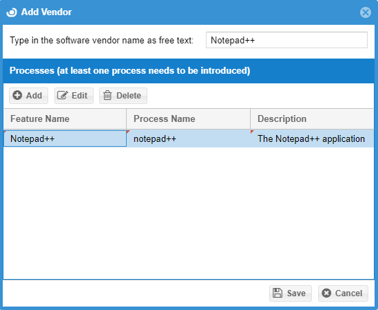 The Add Vendor popup in Unmanaged Processes