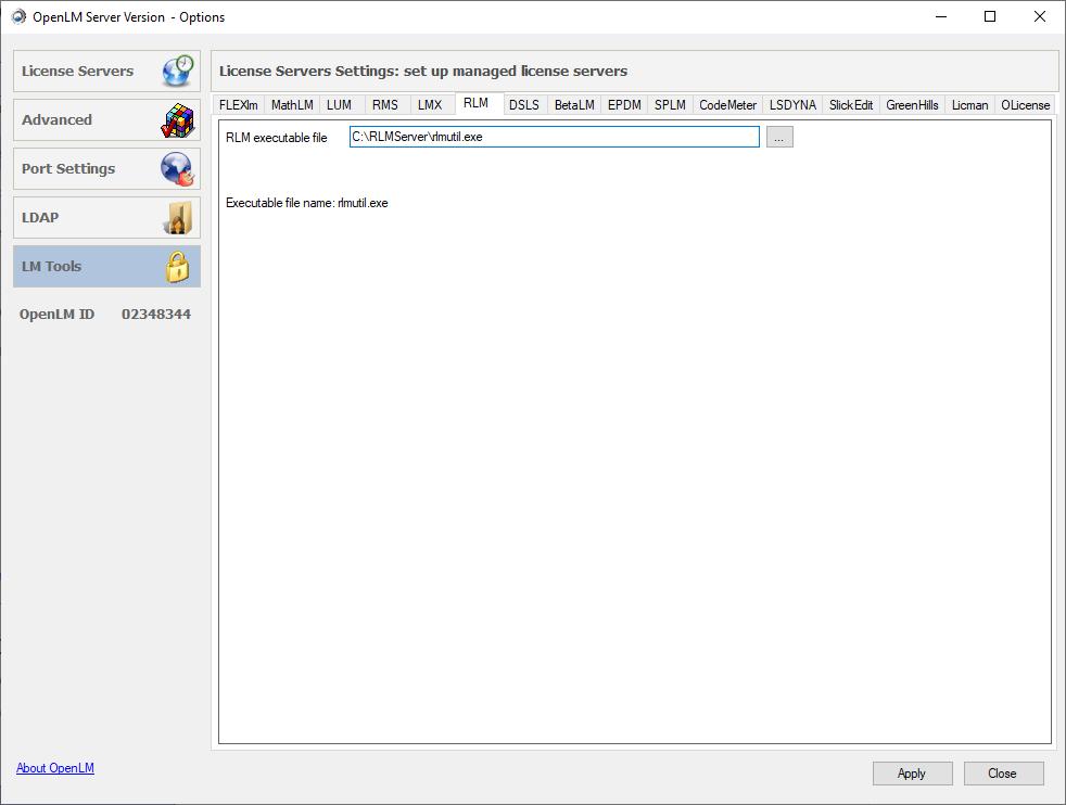 Configuring RLM inside OpenLM Server Config Tool
