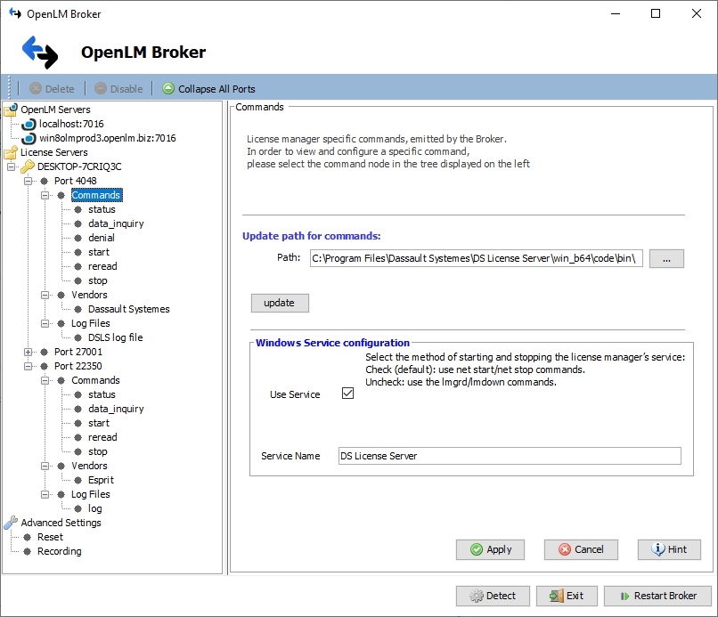DSLS commands node in Broker configuration
