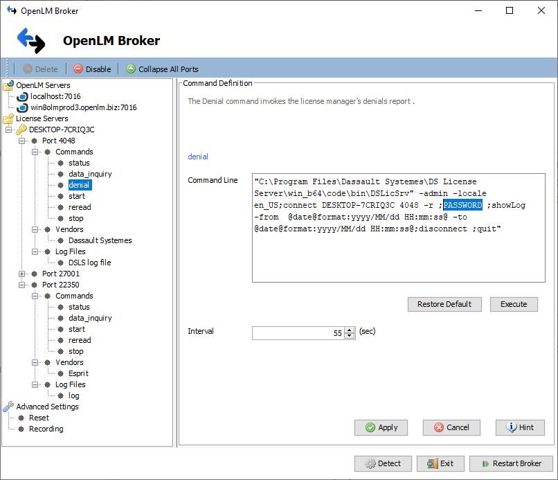 DSLS denials password broker config