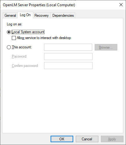 Log On tab on the Services window for OpenLM Server