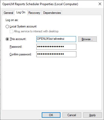 OpenLM Reports Scheduler Properties (Local Computer)