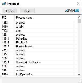 OpenLM's Processes List tool