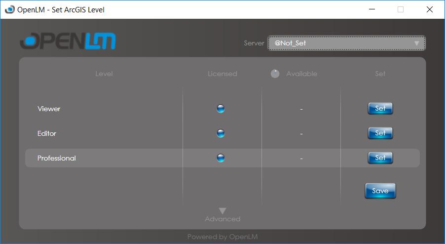 OpenLM Agent Set ArcGIS level window