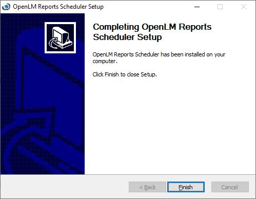 OpenLM Reports Scheduler setup final screen