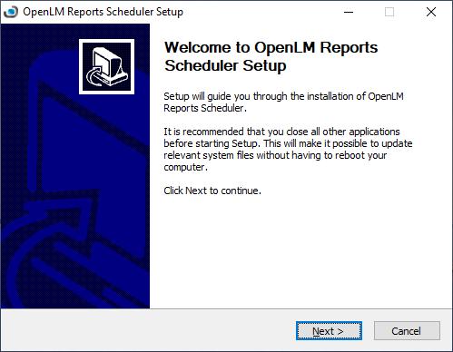 OpenLM Reports Scheduler setup wizard