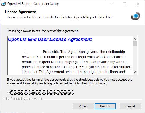 OpenLM Reports Scheduler setup agreement