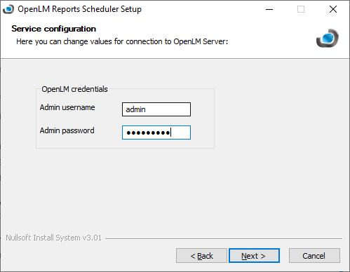 OpenLM Reports Scheduler setup service configuration screen