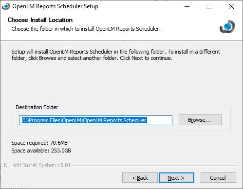 OpenLM Reports Scheduler setup destination folder