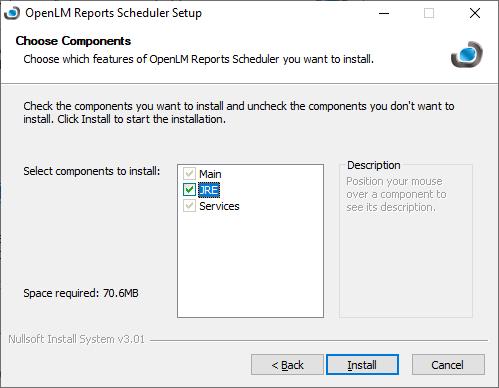 OpenLM Reports Scheduler setup components