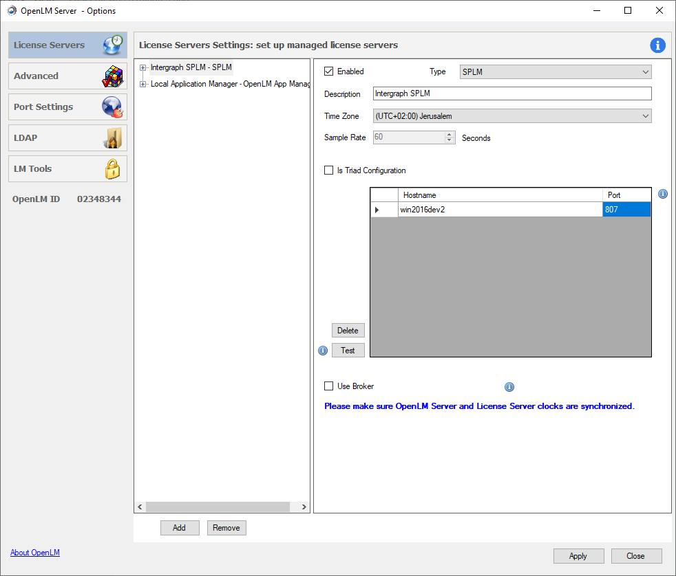Adding a new SPLM server in OpenLM