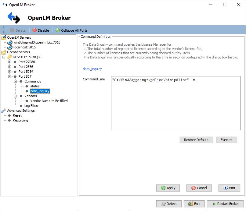 Broker data_query command for Intergraph SPLM