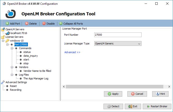 OpenLM Broker Configuration - OpenLM Software License Management