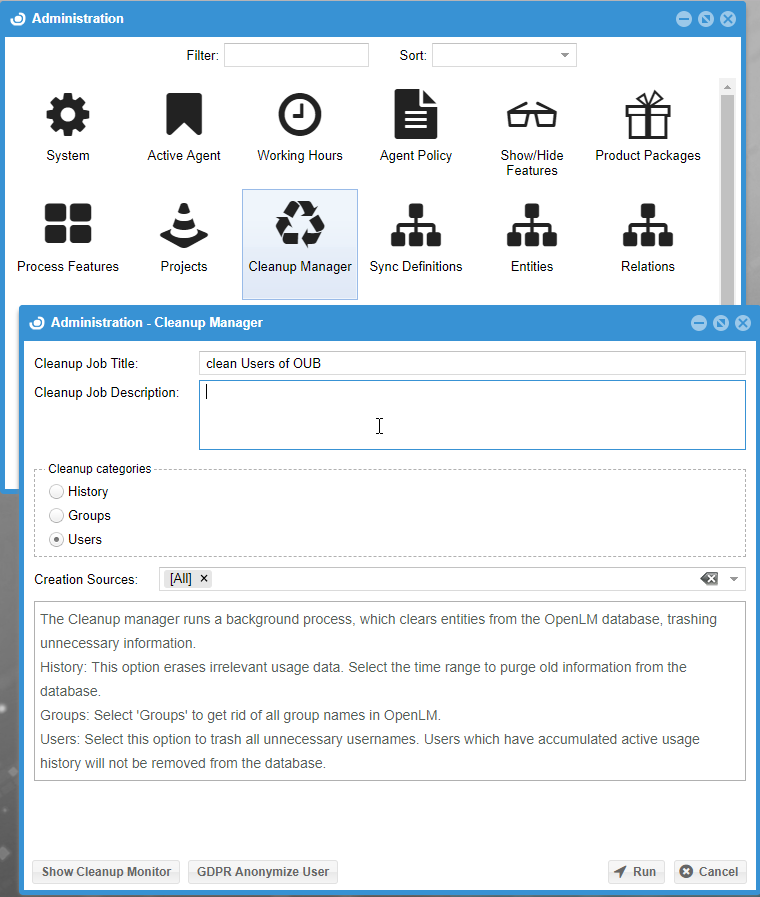 Cleanup Manager settings in OpenLM User Interface
