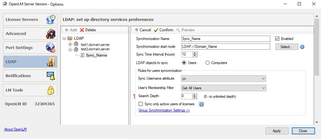 OpenLM Directory Synchronization (LDAP)