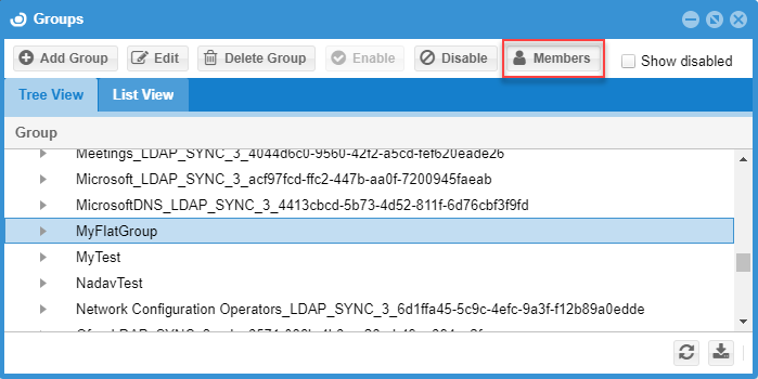 viewing groups in OpenLM User Interface