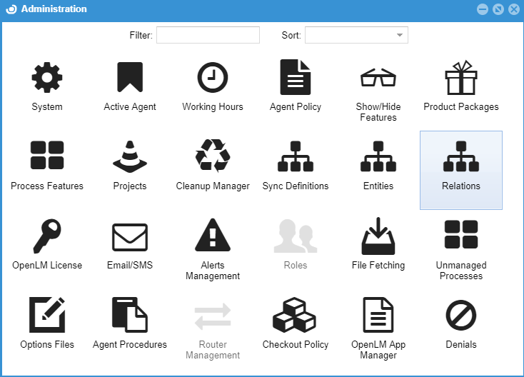 OpenLM User Interface administration, relations