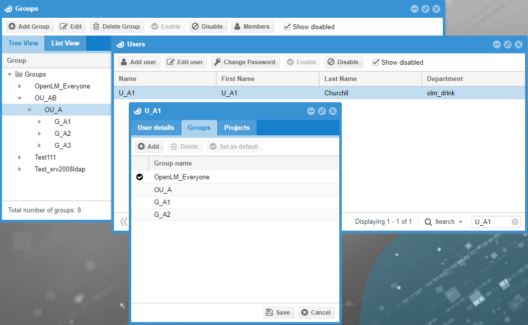 Synchronization of groups in OpenLM User Interface