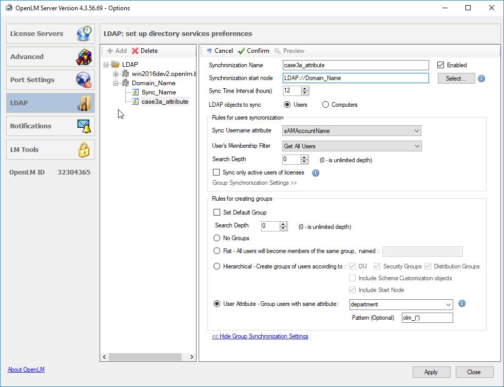 User attributes synchronization in OpenLM Server
