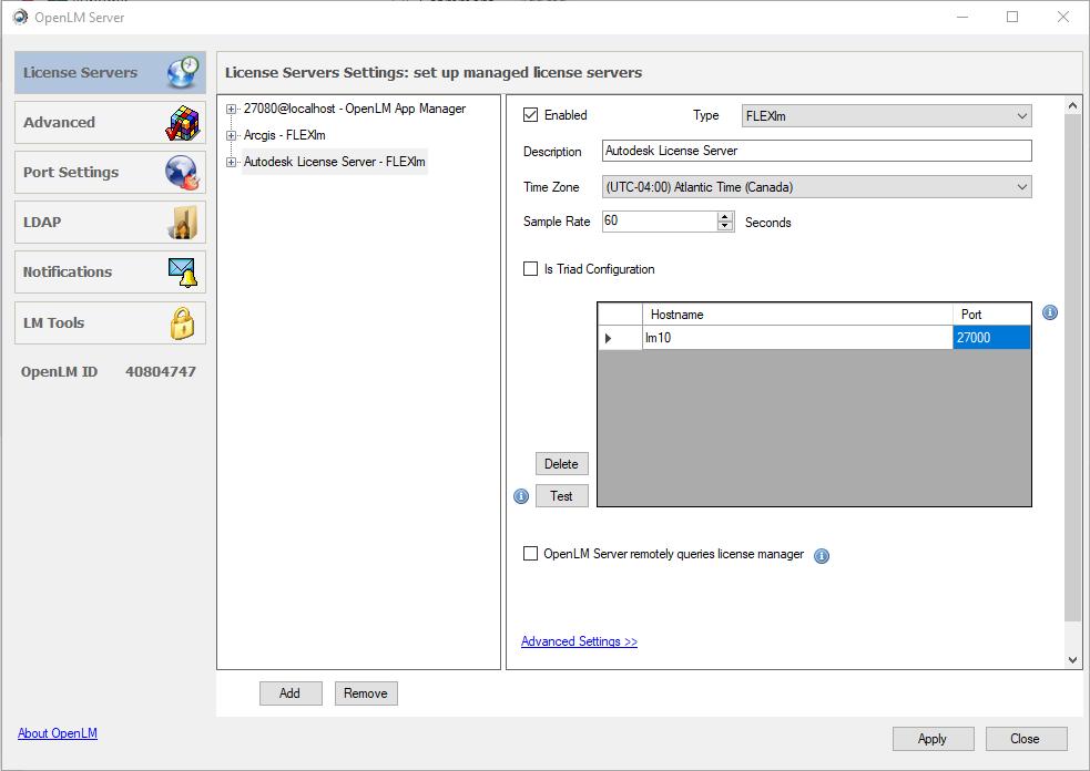 Servers License Manager | Asdela