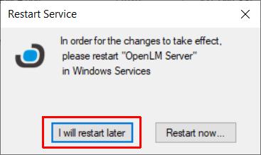 I will restart later window