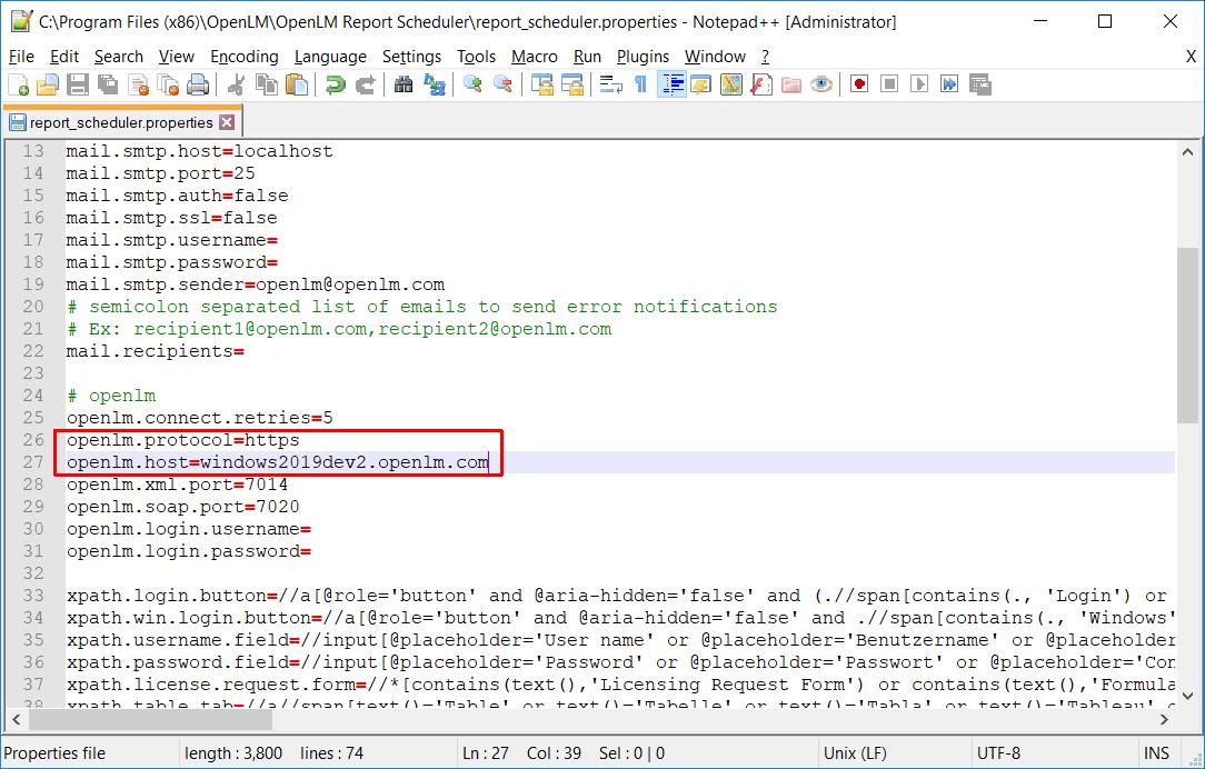Editing report_scheduler.properties to enable SSL for Report Scheduler