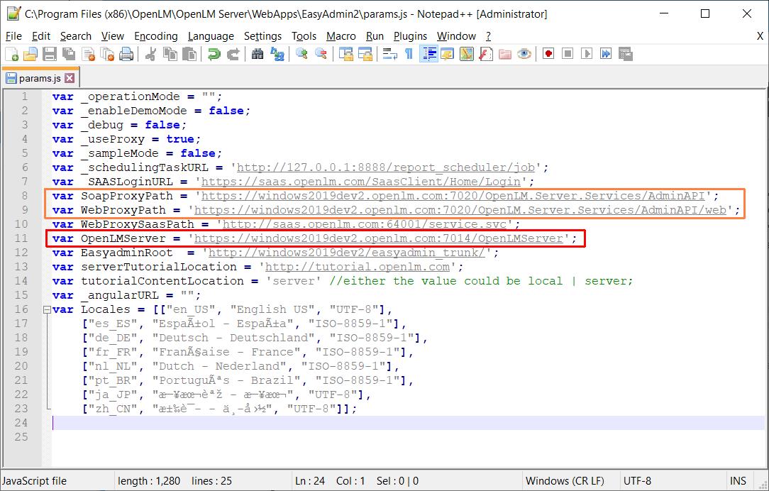 Editing the params.js file