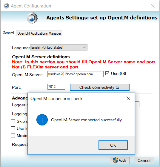 OpenLM Agent configuration window