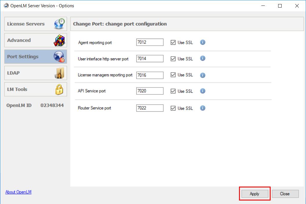SSL for OpenLM Server Configuration Tool window
