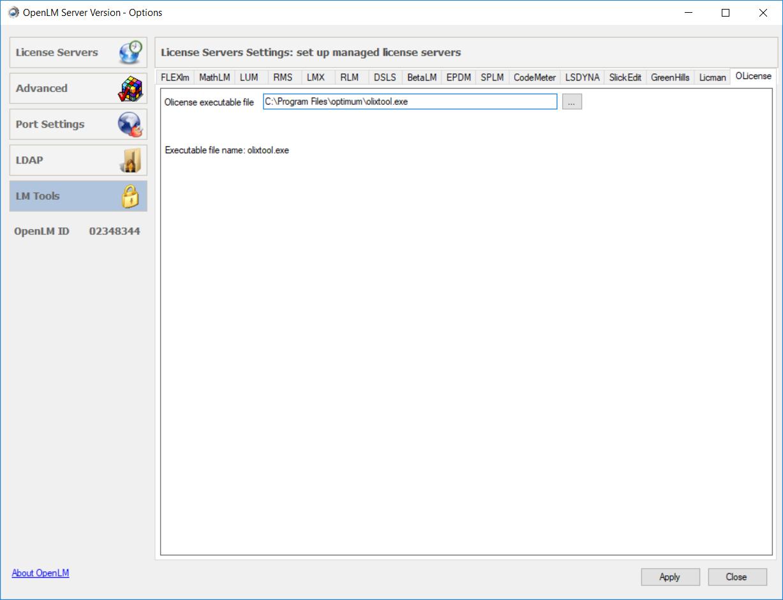 Olixtool.exe in the OpenLM Server configuration tool