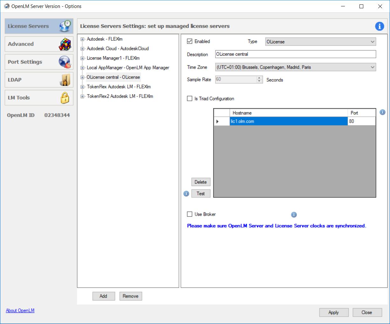 Olicense settings for OpenLM Server configuration tool