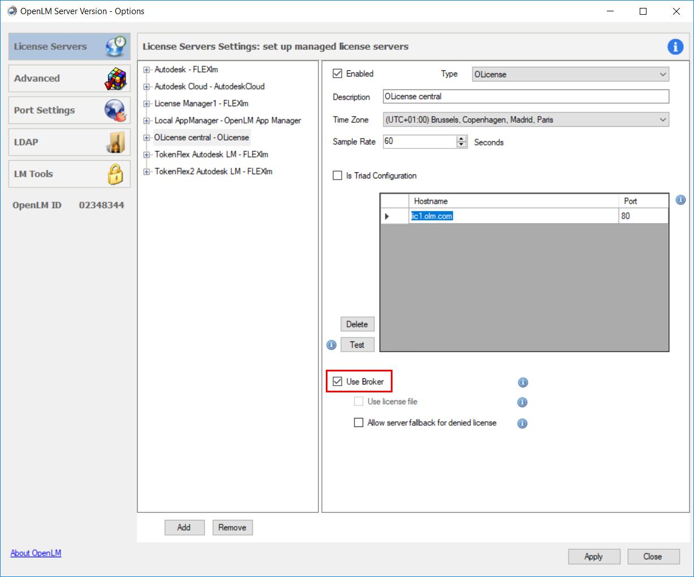 OpenLM Server configuration tool settings for Broker usage