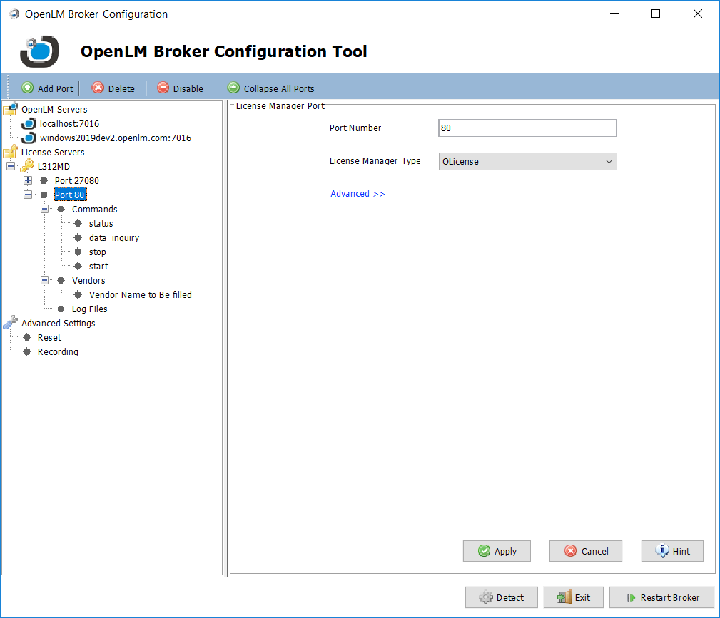 OpenLM Broker configuration tool settings for Olicense