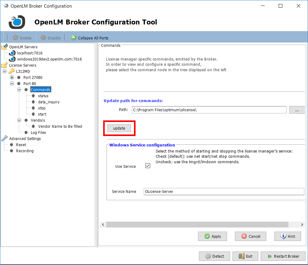 OpenLM Broker configuration tool command settings for Olicense