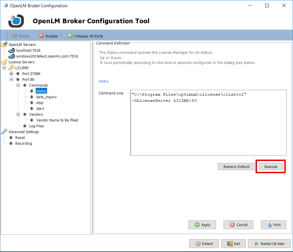 Checking that the OpenLM Broker configuration tool settings for Olicense are working