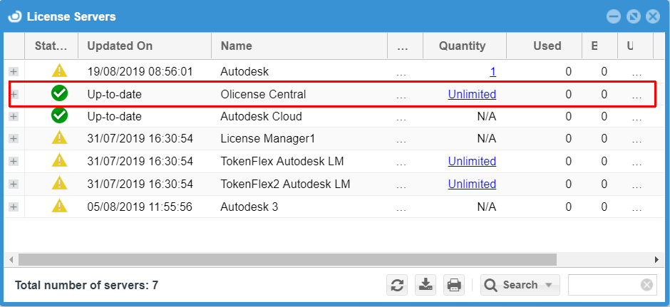 License Servers window showing Olicense monitoring in action