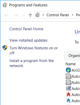 Turn Windows features on or off option