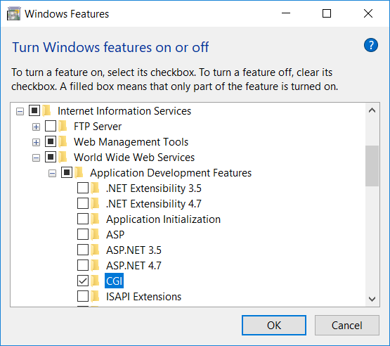 Windows Features dialog with CGI feature selected
