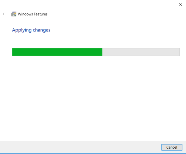"""Windows Features"" window with installation progress bar"