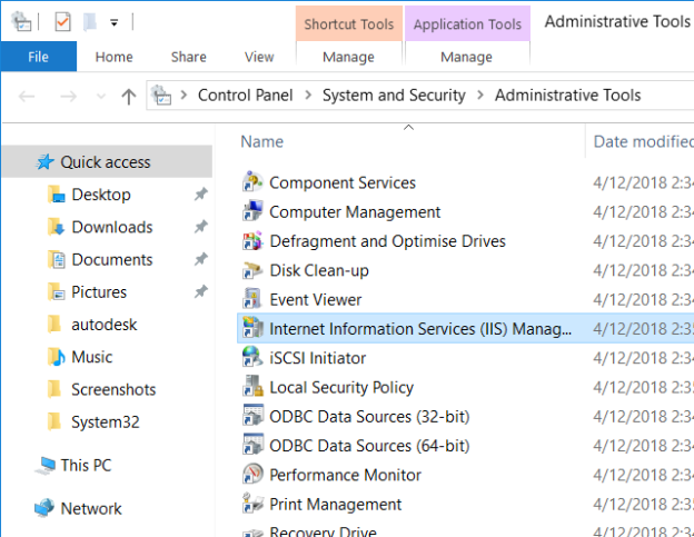 Administrative Tools with IIS Manager selected