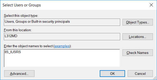 Assigning permissions to the IIS_IUSRS group
