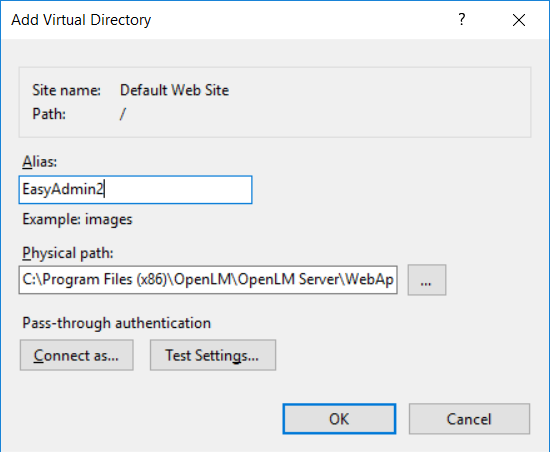 Add Virtual Directory dialog with required fields for configuring OpenLM EasyAdmin to use Microsoft IIS 10
