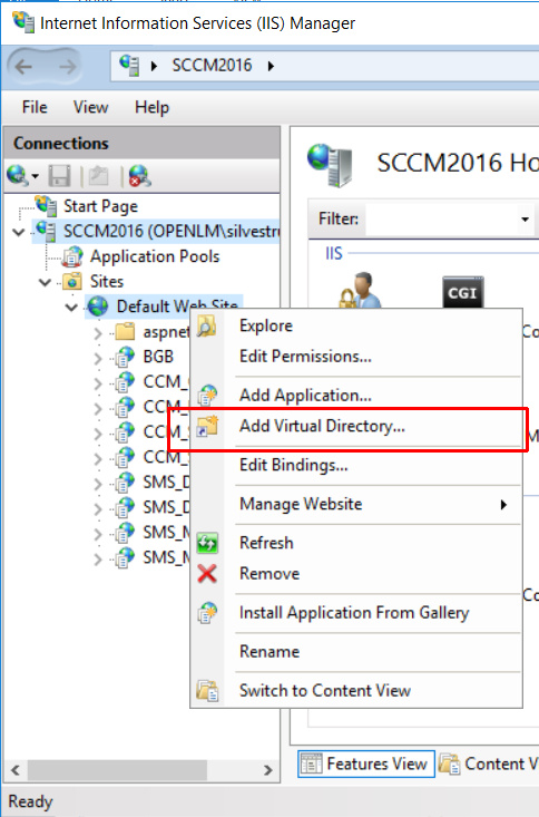IIS Manager Add Virtual Directory function