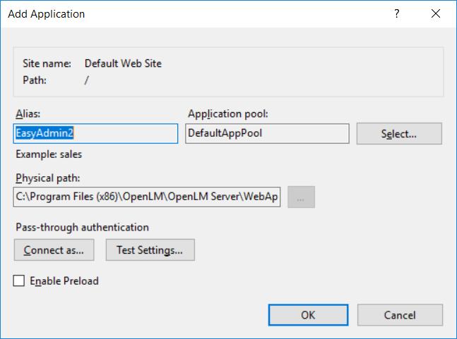 Add Application default values dialog