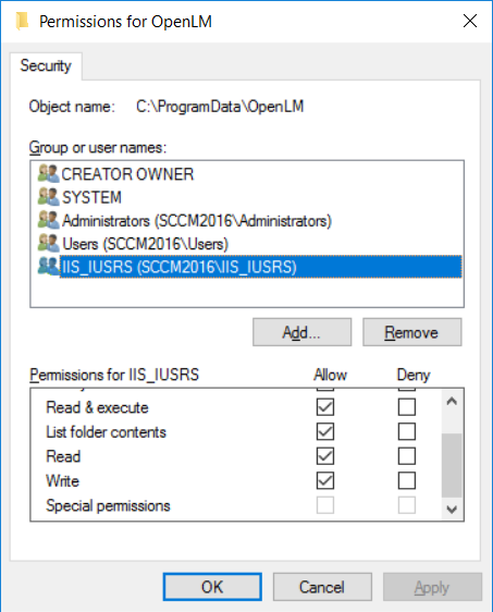 IIS_IUSRS permissions for OpenLM folder with read write and execute