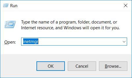 Windows Run with inetmgr command