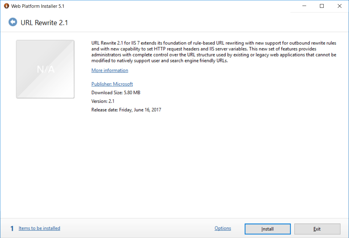 URL Rewrite installer welcome screen