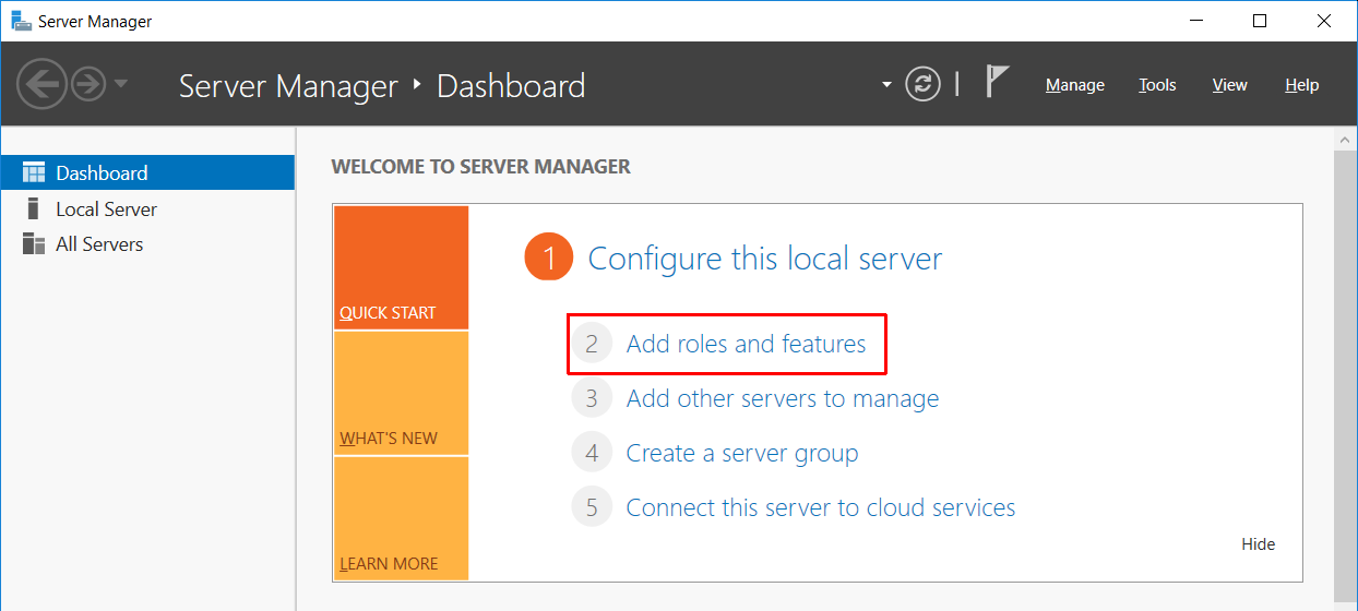 Server Manager screen with Add roles and features option