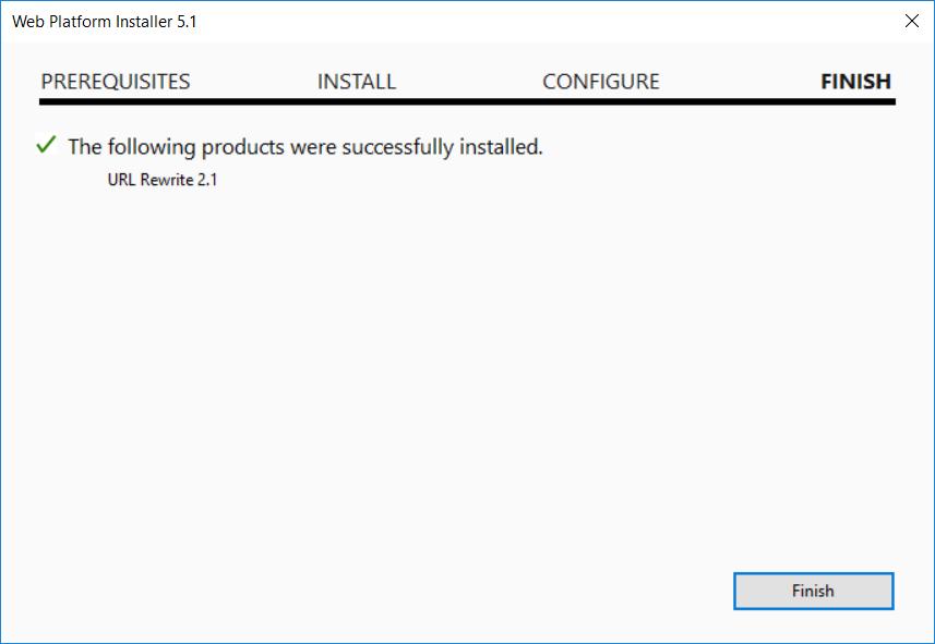 Web Platform Installer success screen